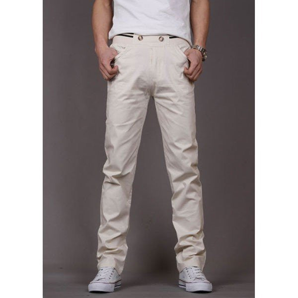 Men's Spring Fall Cotton Loose Fit Chinos Elastic Waist Casual Pants