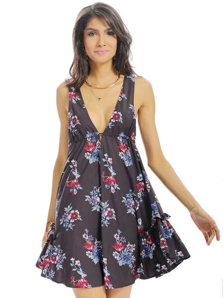 Women Casual Floral Print Loose Lace-up Bandage V-neck Backless Sleeveless Dresses