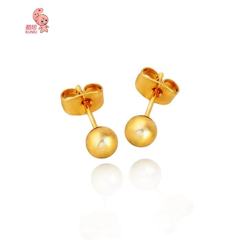 18k Gold Platinum Plated Round Ball Ear Stud