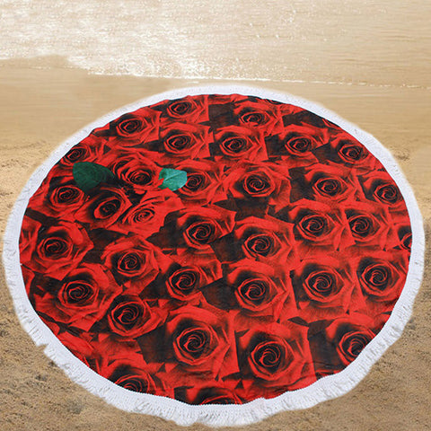 150cm 3D Red Rose Printing Microfiber Beach Towel Soft Quick-drying Round Tassels Blanket