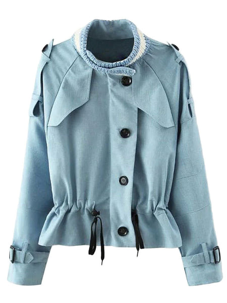 Patchwork Zipper Single Breasted Jacket For Women
