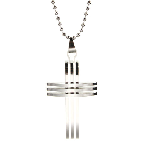 Grid Cross Pendant Stainless Steel Necklace