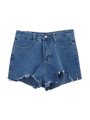 Women Pockets Pure Color Irregular Hem Denim Shorts