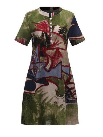 Chinese Style Floral Printed Dress Short Sleeve Vintage Dress For Women