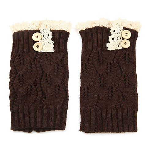 Korean Style Knitting Warmer Knee Socks Sweat Pure Color Lace Hollow Out Boots Socks