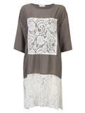 Lace Patchwork O-Neck Half Sleeve Loose Shirt Dress For Women