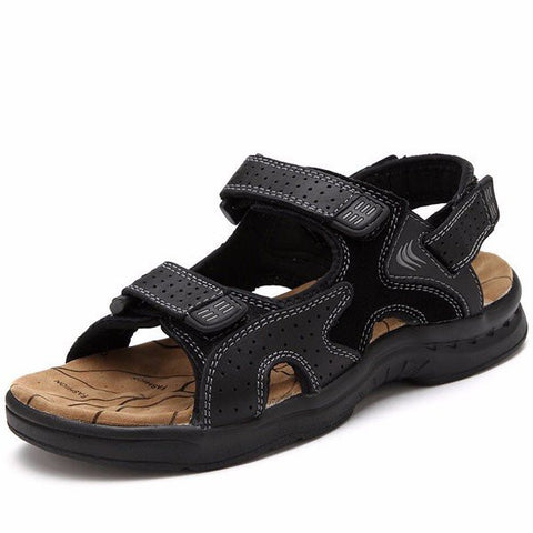 Men Hollow Out Hook Loop Leather Flat Casual Beach Sandals