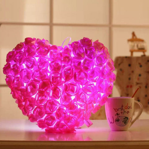 Plush Colorful LED Light Music Heart Shape Rose Throw Pillow Festival Valentines Birthday Gifts