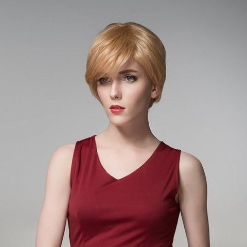 12 Colors Short Human Hair Wigs Virgin Remy Mono Top Capless Wig Side Bang
