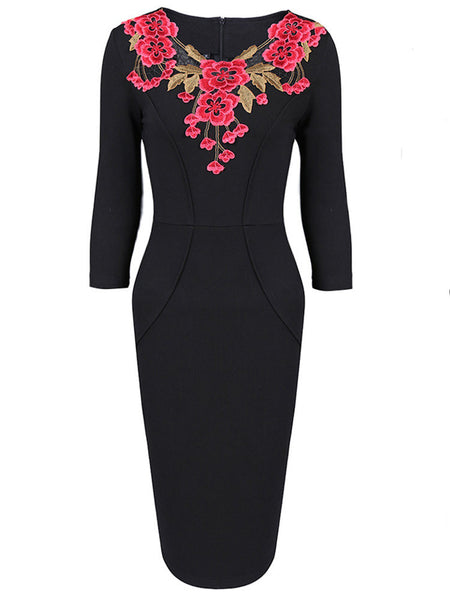 Solid Color Floral Embroidered Three Quarter Sleeve Women Dresses