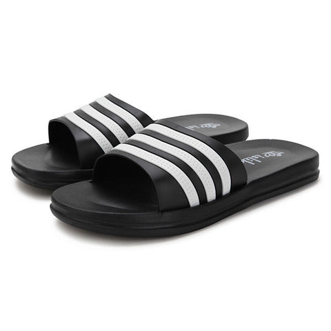 Men Rubber EVA Stripe Anti Skip Slip On Home Indoor Bathroom Slippers