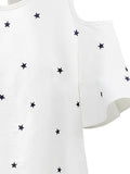 Casual Women Ruffles Sleeve Little Stars Printed Off Shoulder T-Shirt