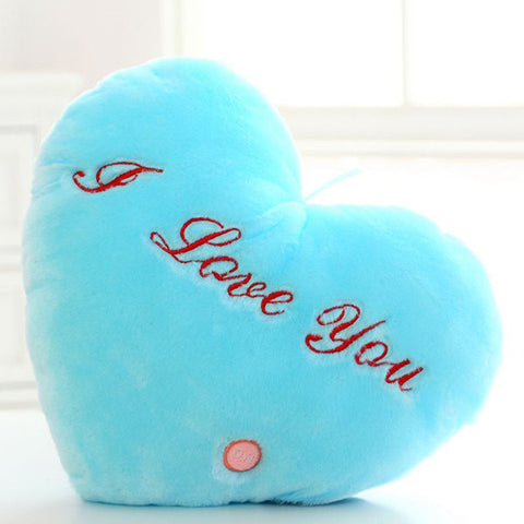Plush Colorful LED Light Music Heart Shape Throw Pillow Home Sofa Decor Gift