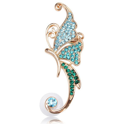 16K Gold Plated Crystal Butterfly Ear Cuff