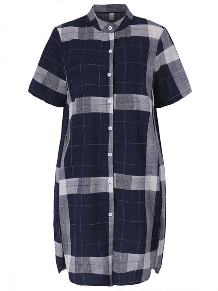Vintage Plaid Short Sleeve Stand Collar Shirt Dress For Women