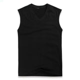 Sport V-neck Solid Color Vest Casual Cotton Sleeveless Tanks Top For Men