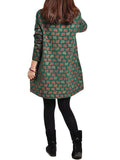 Casual Women Loose Cartoon Printed Cotton Long Sleeve Dress