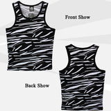 Mens Summer Black and White Tiger Stripes Sleeveless Vest Casual Sport Tanks Tops