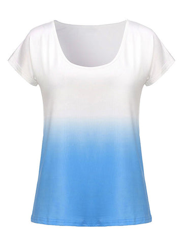 Casual Gradient Color O-Neck Short Sleeve T-Shirt For Women