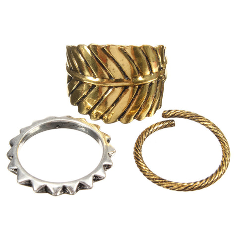 3Pcs Vintage Bronze Leaf Rings