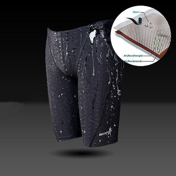 Plus Size Mens Faux Sharkskin Waterproof Breathable Quick Dry Swimming Trunks