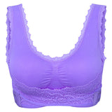 Women Sexy Seamless Side Closure Sports Bras Lace Wireless Gather Vest Bras
