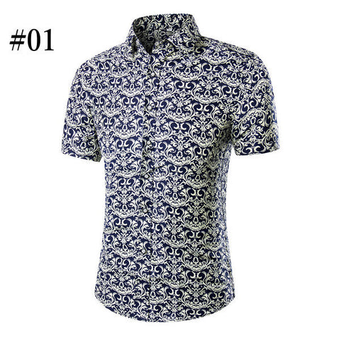 Casual Floral Printing Big Size Turn-down Collar Short Sleeve Beach Shirt For Men