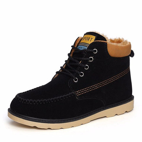 Men Winter Leather Lace Up Comfortable Flat Ankle Martin Boots