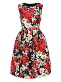 Women Sleevelss O Neck High Waist Floral Printed Ball Gown Dress
