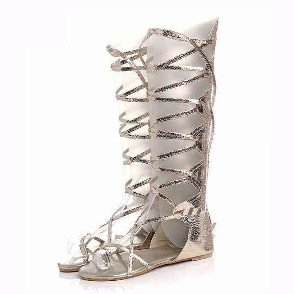 f47175ad0fb3 Sexy Roman Lace Up Hollow Out Strappy Flat Knee High Mid Calf Gladiator  Sandals