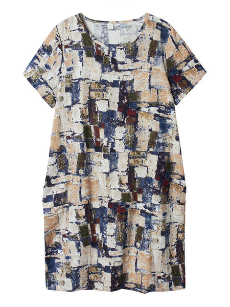 Vintage Women Printed Color Block Short Sleeve Loose Cotton Linen Dress