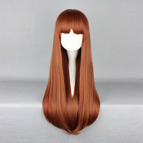 Harajuku Bright Brown Long Straight Synthetic Fiber High Temperature Cosplay Wig Anime Costume Hair