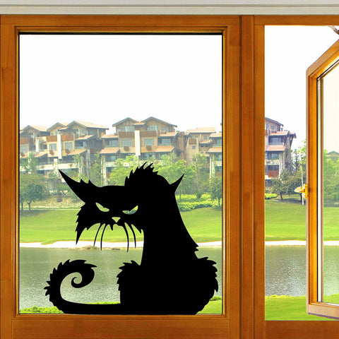 Halloween Scary Black Cat Glass Sticker Halloween Decor