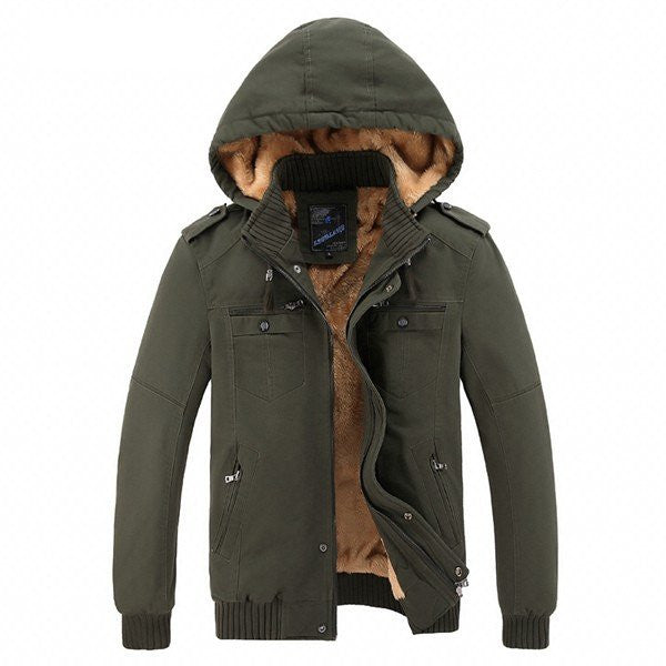 Men's Winter Thickened Warm Jacket Hooded Stand Collar Washed Jacket