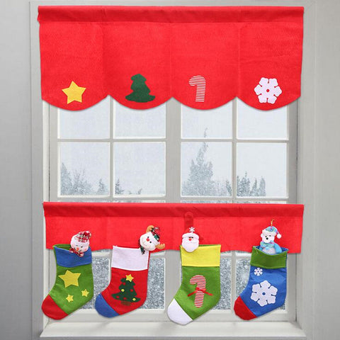 1 Set Christmas Curtain Socks Decoration Cloth Window Red Curtains Home Decor