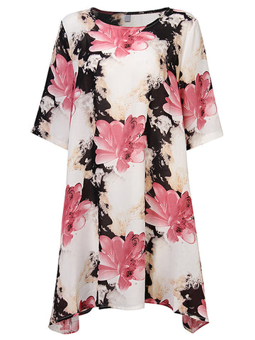 Casual Flower Ink Printed Half Sleeve Chiffon Dress For Women