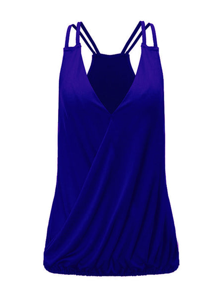 Sexy Women Strap V Neck Pure Color Tank Top Summer Beach Wear