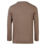 Men's Plus Size Summer Leisure Solid Color V-neck Slim Fit Cotton Long-sleeved T-Shirts