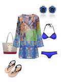 Women Long Sleeve Deep V Neck Printed Mini Dress Bikini Smock Beach Dress
