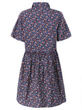 Women Vintage Floral Printed Short-Sleeve Single-Breasted Loose Dress