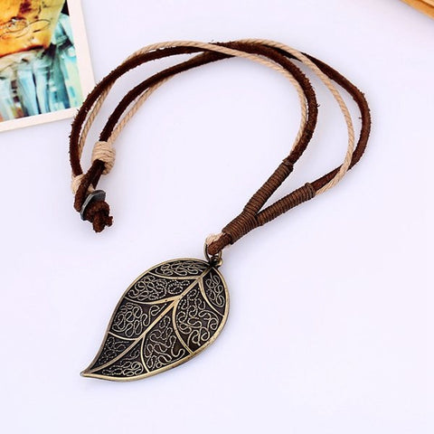 Punk Cow Leather Wax Rope Alloy Leaves Pendant Necklace for Man