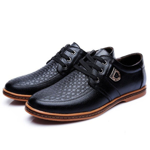 Big Size Men Leather Plaid Wearproof Lace Up Flat Business Formal Shoes