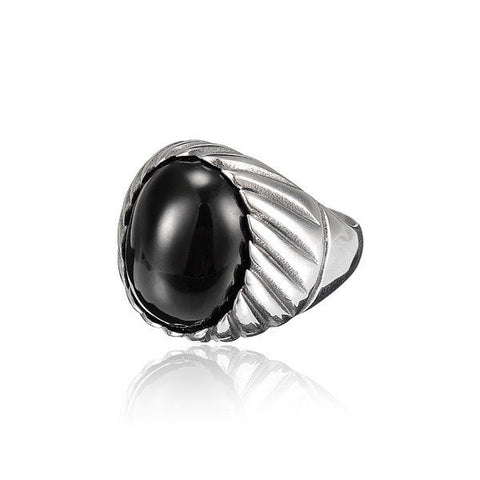 Black & Red Agate Antique Titanium Ring
