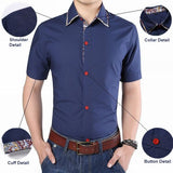 Mens Turn-down Collar Slim Fit Solid Color Formal Short Sleeves Casual Camisa Male Shirt