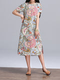 Vintage Women Flower Printing Side Split Straight Dress