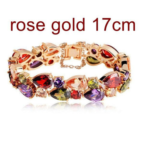 24K Gold Rose Gold Plated Colorful Zircon Peach Heart Bracelet