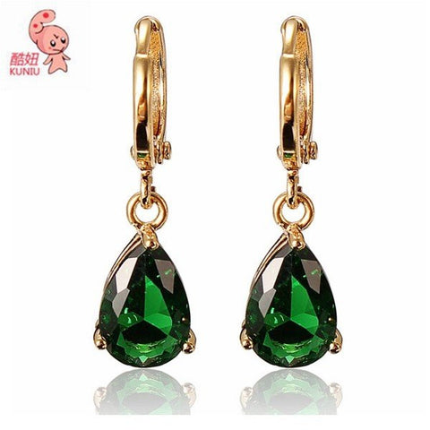 18K Gold Plated Rhinestone Water Drop Earrings