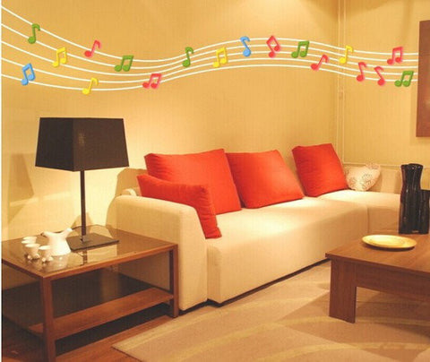 3D Musical Note Wall Decals 2 Pcs 7 Colors Acrylic Home Bedroom Living Room Wall Stickers Decor - shechoic.com