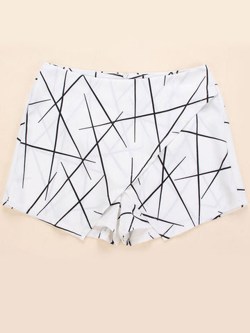 Women Geometric Printed High Waist High Low Shorts