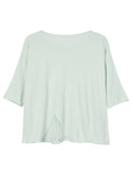 Short Sleeve Pure Color Pocket Broken Holoe Knit T-shirt For Women
